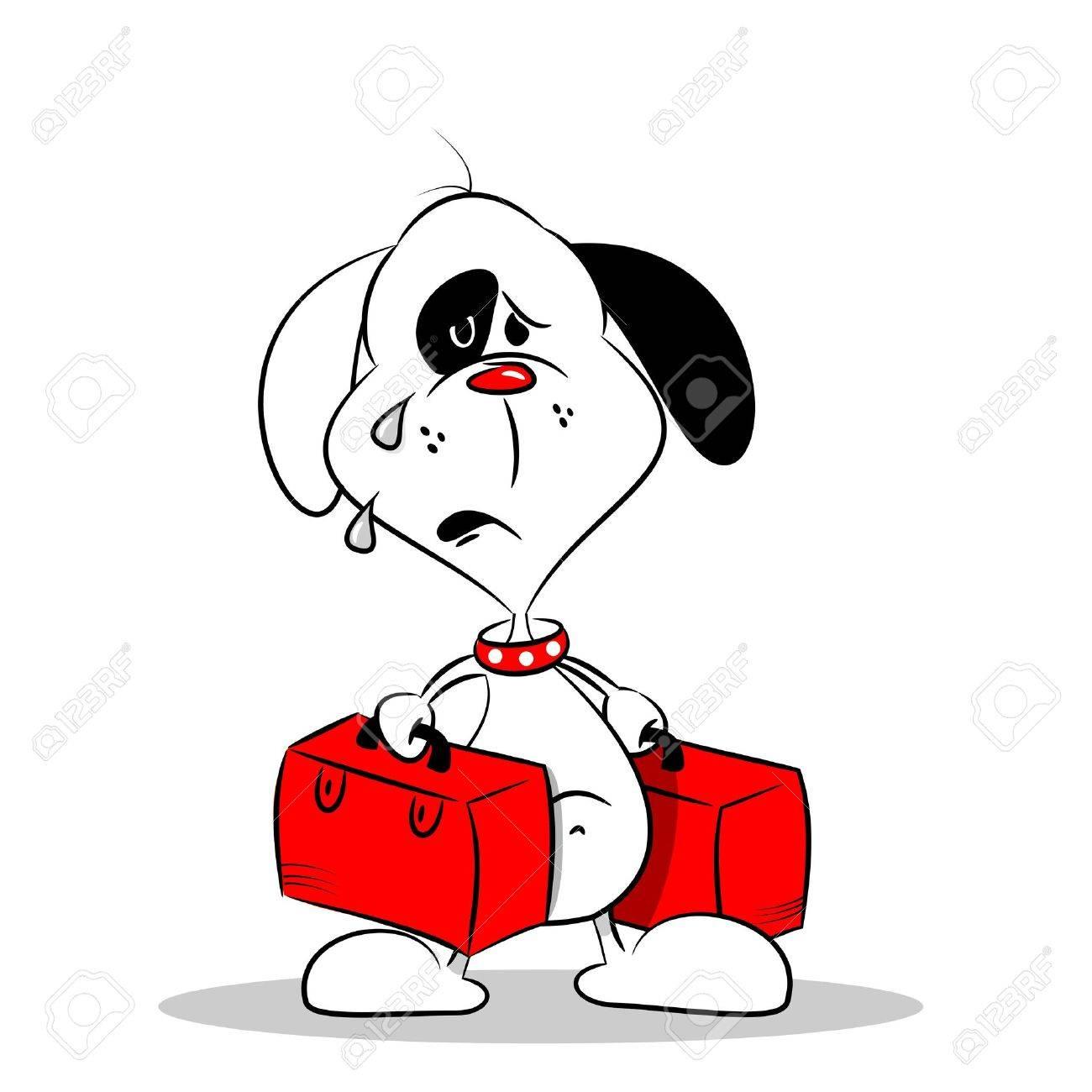 a sad homesick cartoon dog with luggage royalty free cliparts