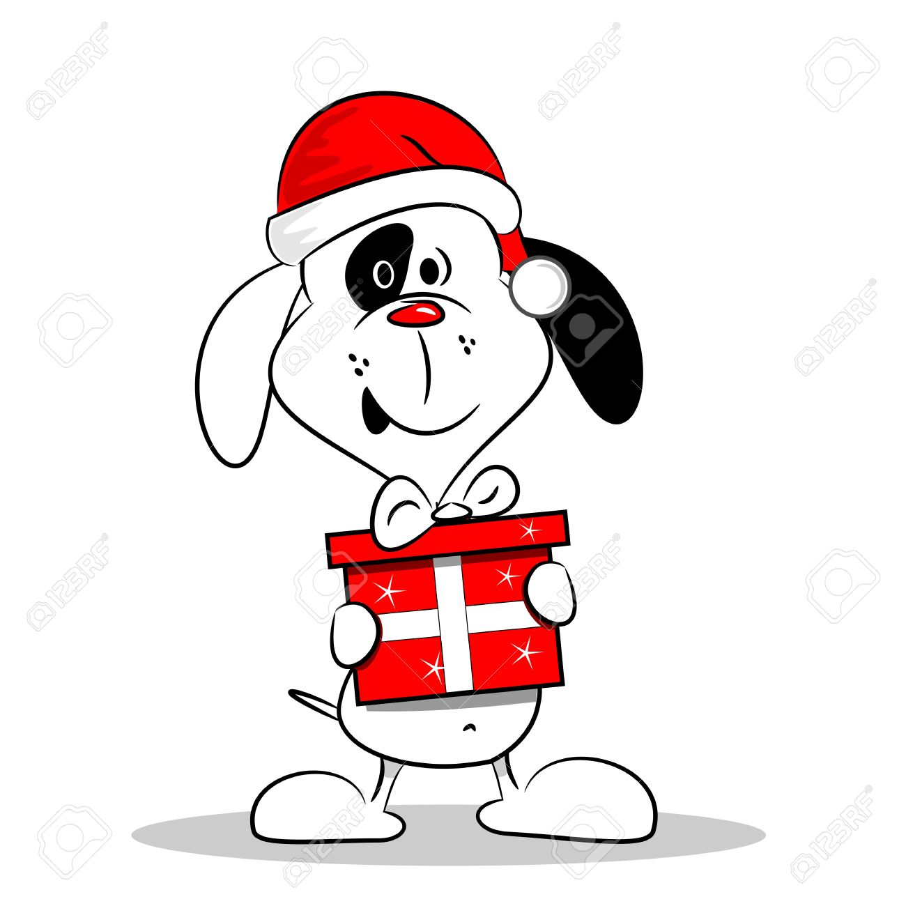 A cartoon dog wearing a Christmas hat and holding a gift box Stock Vector - 21657519