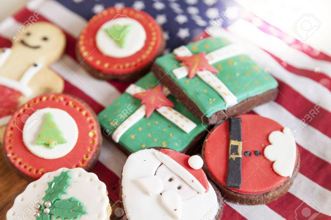 Mixed With Homemade Christmas Cookies Over An American Flag