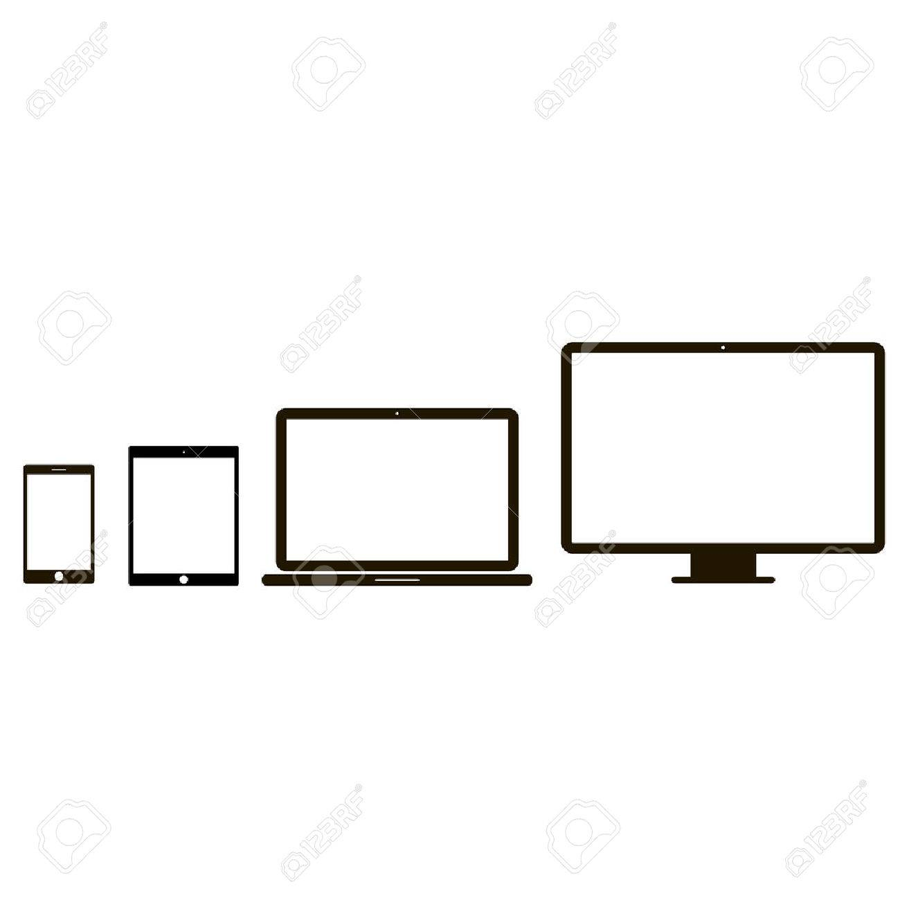 Electronic device icons. 4 device icons in white background - 56481804