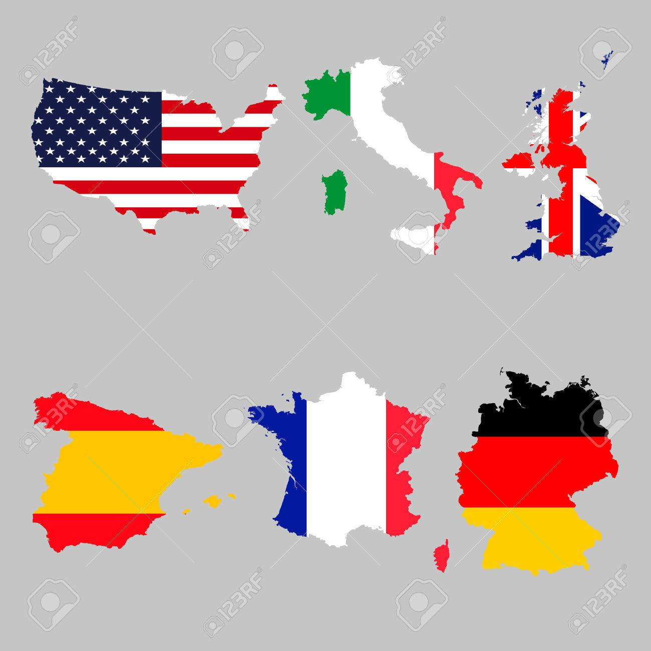 Set Of Map Flags Usa Italy United Kingdom Spain France Germany