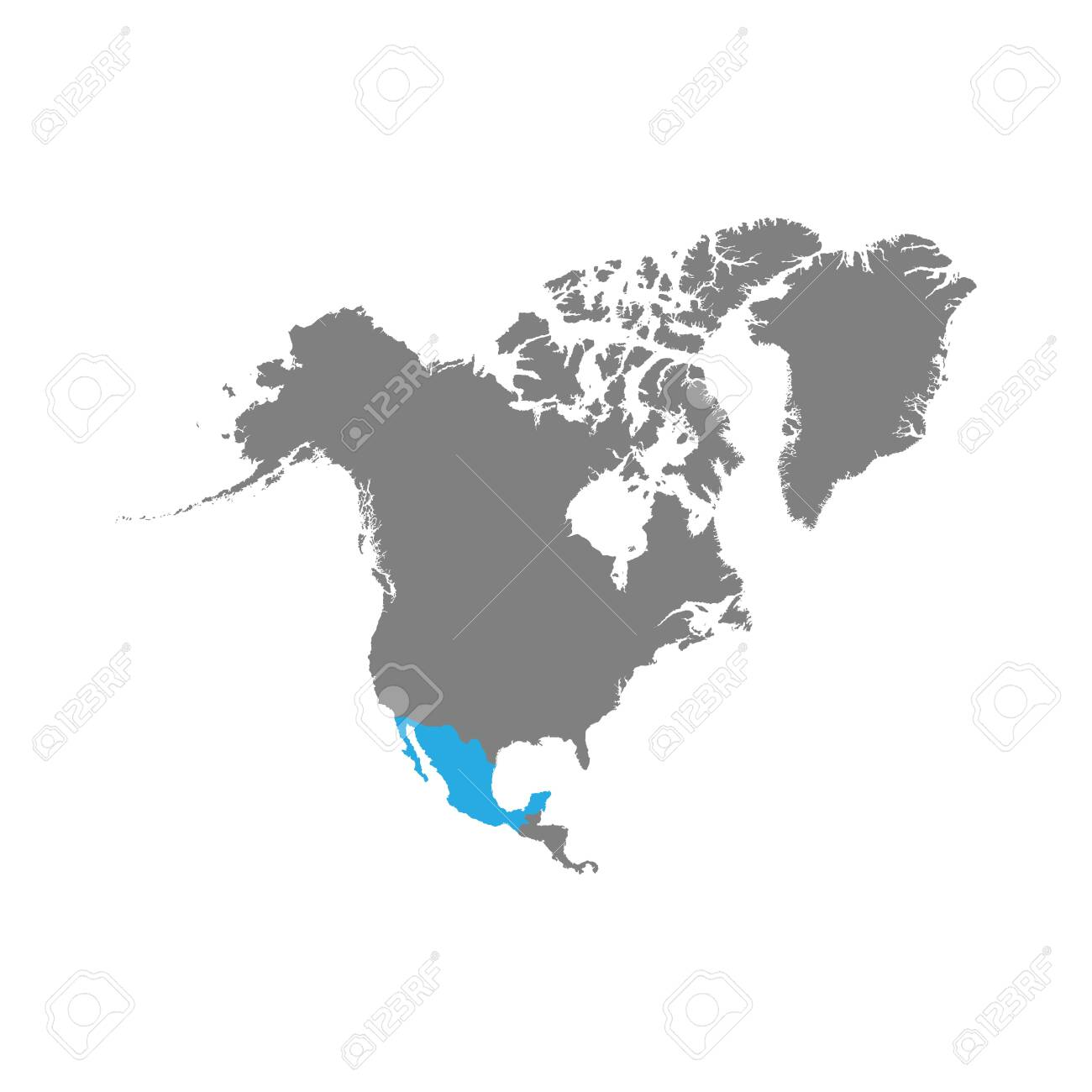 The map of Mexico is highlighted in blue on the North America map. Vector - 124254663