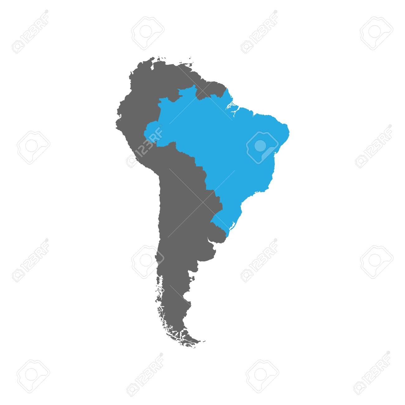 Picture of: The Map Of Brazil Is Highlighted In Blue On The South America Royalty Free Cliparts Vectors And Stock Illustration Image 124254676