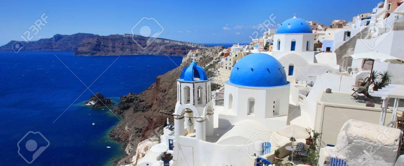 Typical view of Santorini, Greek island (Europe) - 149082164