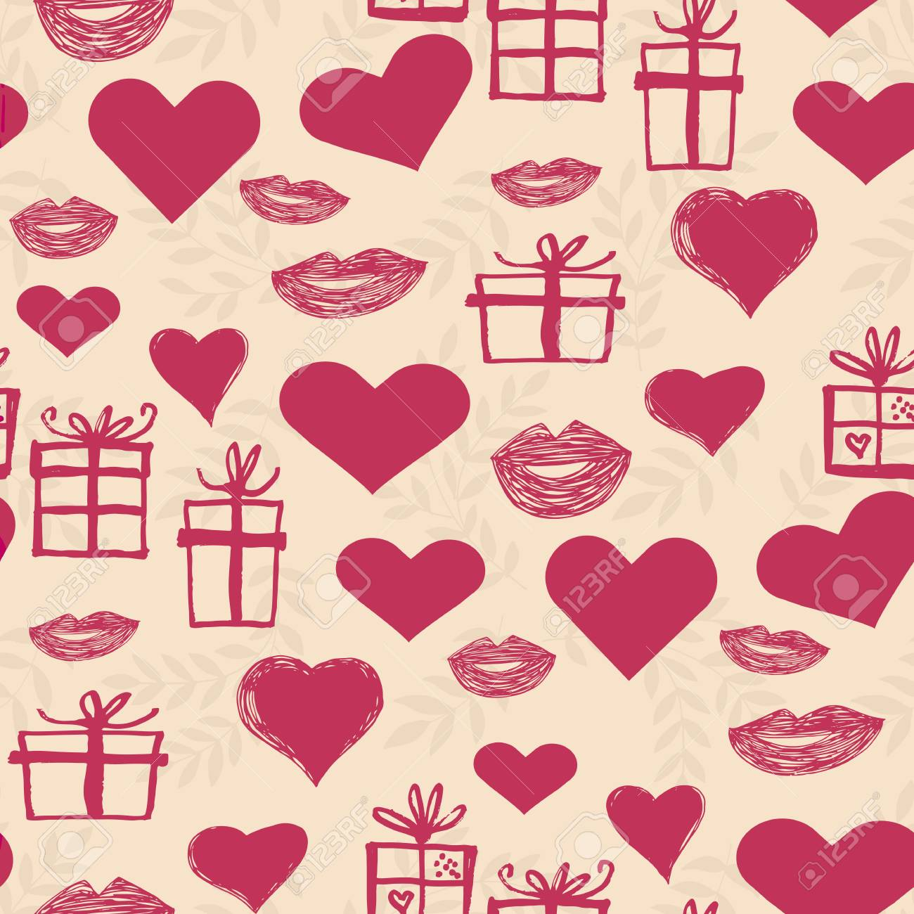 Beautiful Handdrawn Seamless Pattern With Hearts And Boxes Gifts ...