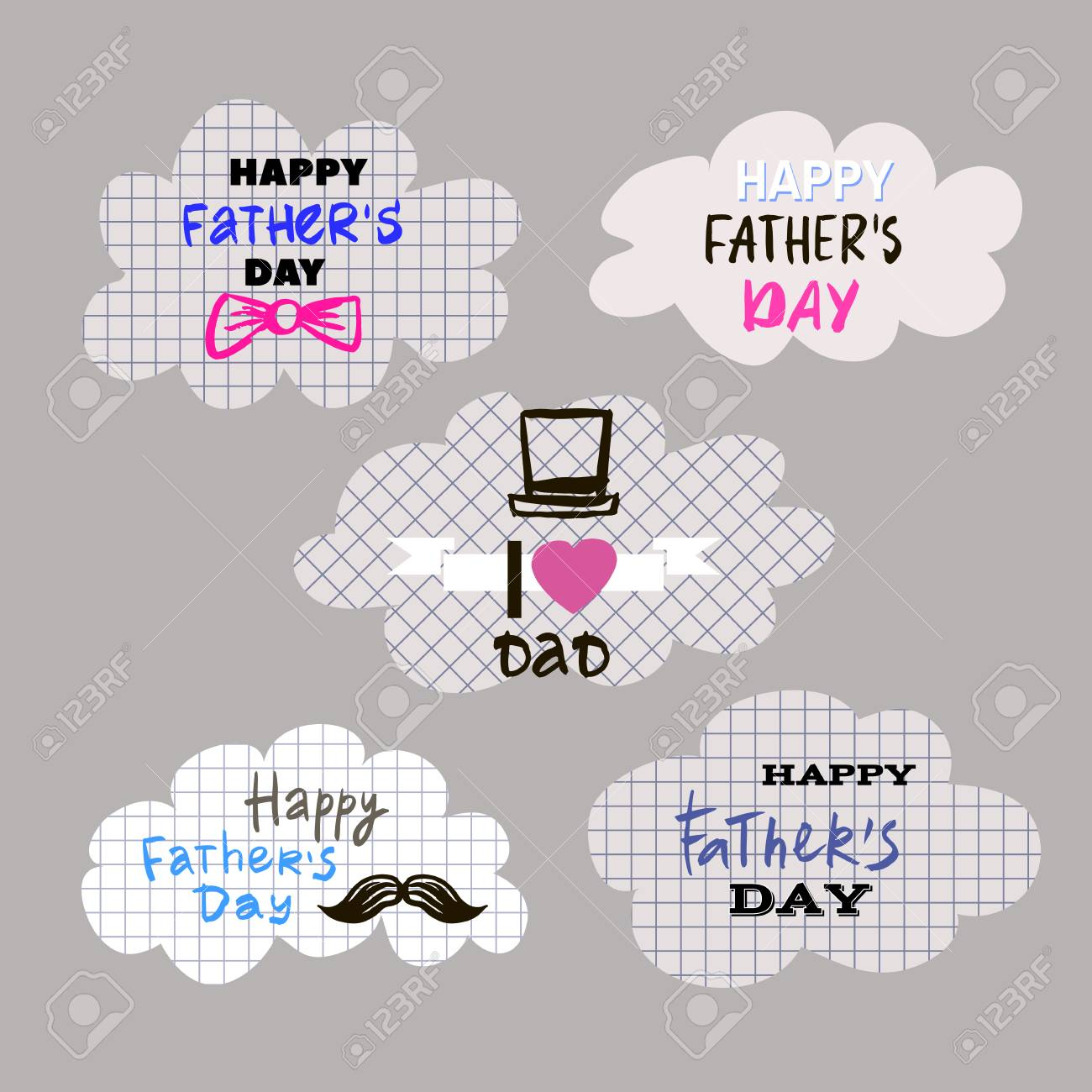 Happy Fathers Dayg Set Elements For Greeting Cards Banners