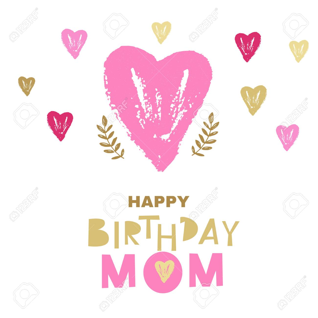 Happy Birthday Mom Greeting Card Design Vector Illustration Stock