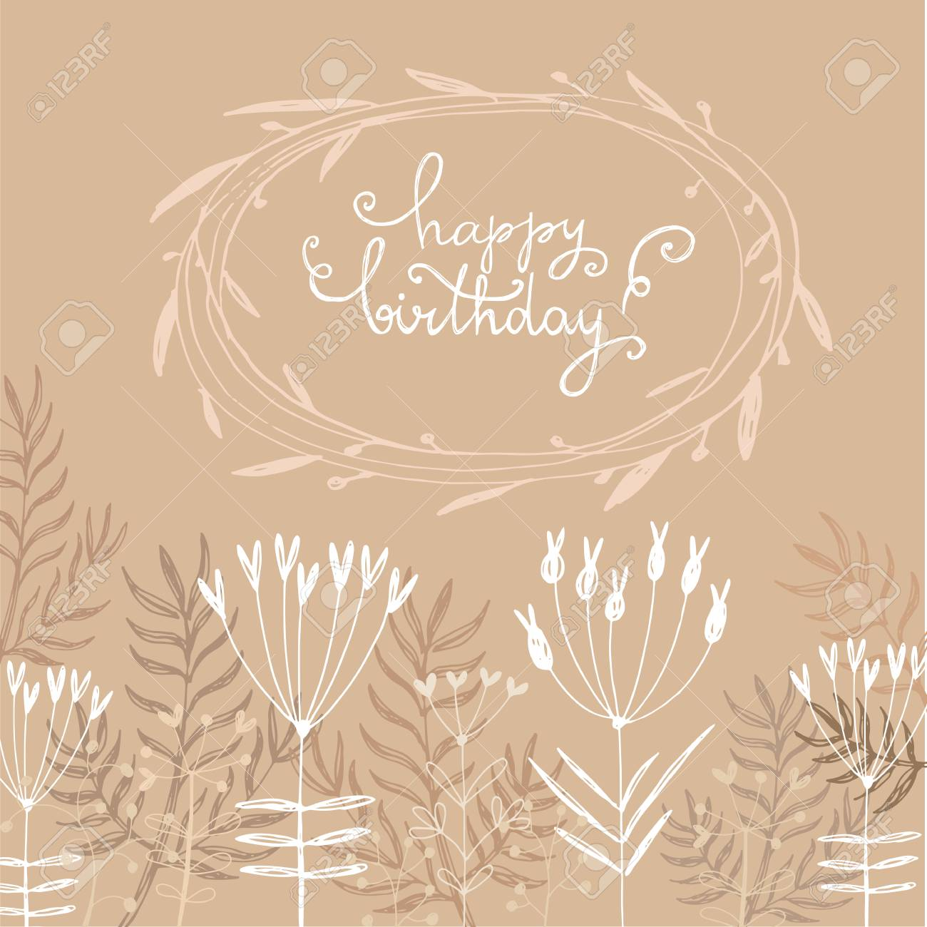 Hand Drawn Card Greeting With Beautiful Floral WreathText Happy Birthday