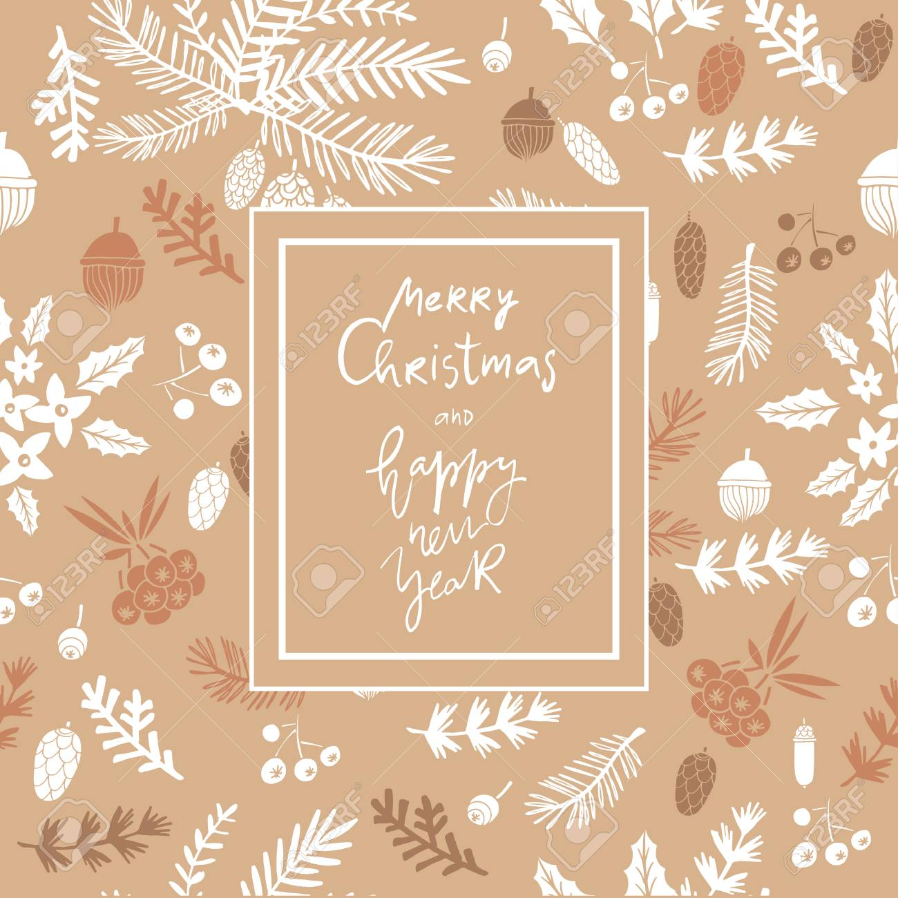Hand Drawn Christmas Greeting Card Of Conifers Fir Larch Juniper