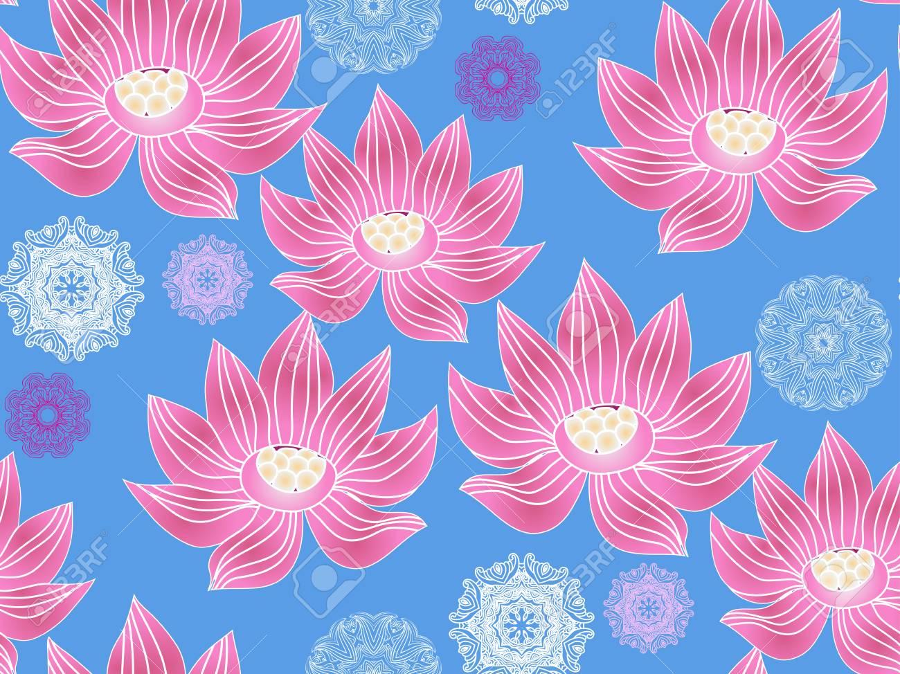 Beautiful Seamless Pattern With Flower Lotus Japanese Indian
