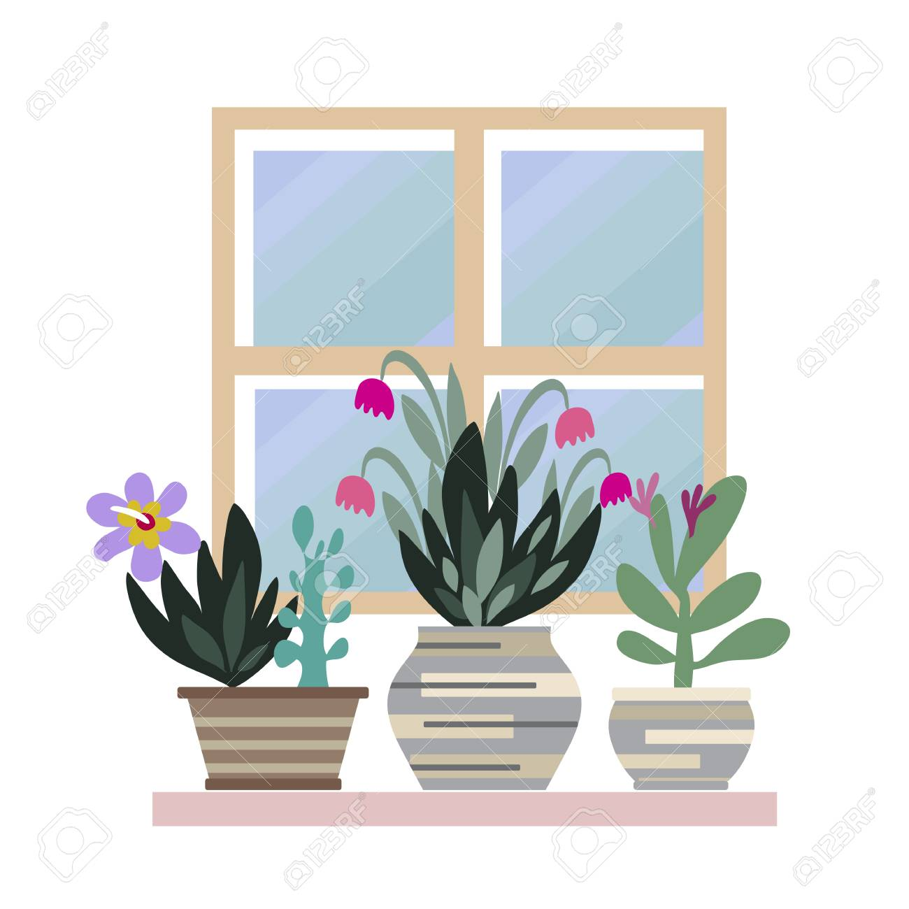 Home room and office plants in pots cute vector elements in home room and office plants in pots cute vector elements in flat cartoon style stopboris Image collections