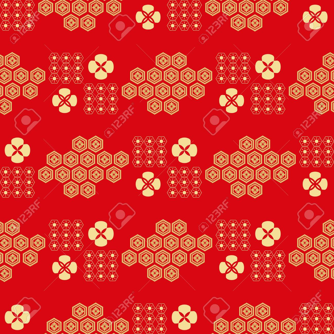 Beautiful Japanese Seamless Pattern With Flowers Red And Gold Vector