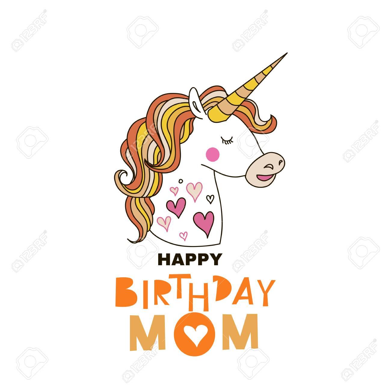 Birthday Greeting Card Designute Hand Drawn Unicorn