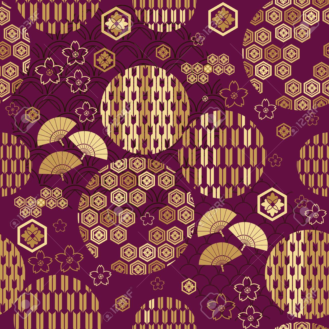 Beautiful japanese seamless pattern with clouds, waves and flowers. Vector unique seamless asian texture.For printing on packaging, textiles, paper,book covers, manufacturing, wallpapers,bags, scrapbooking. - 100738045