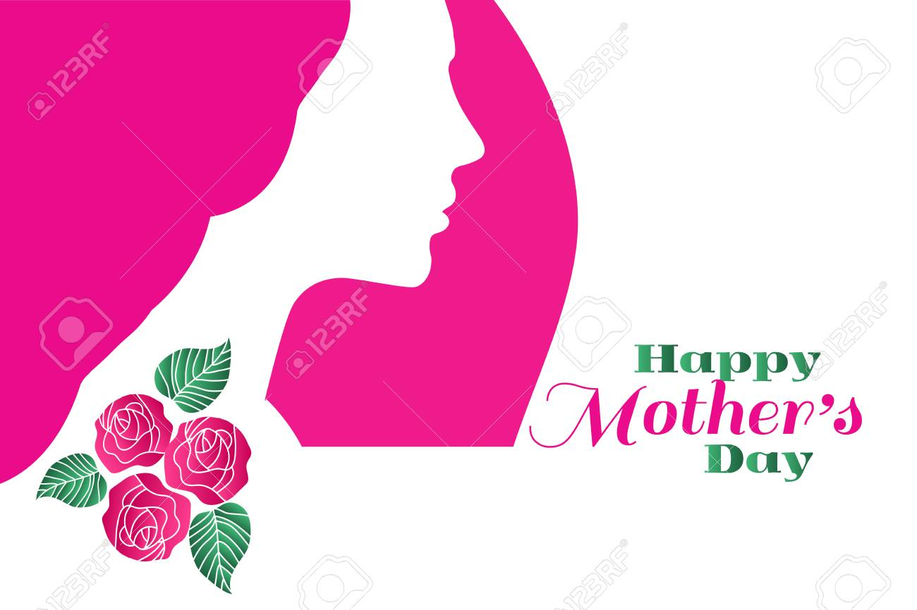 Happy Mothers Day Template Poster Greeting Card With Flowers