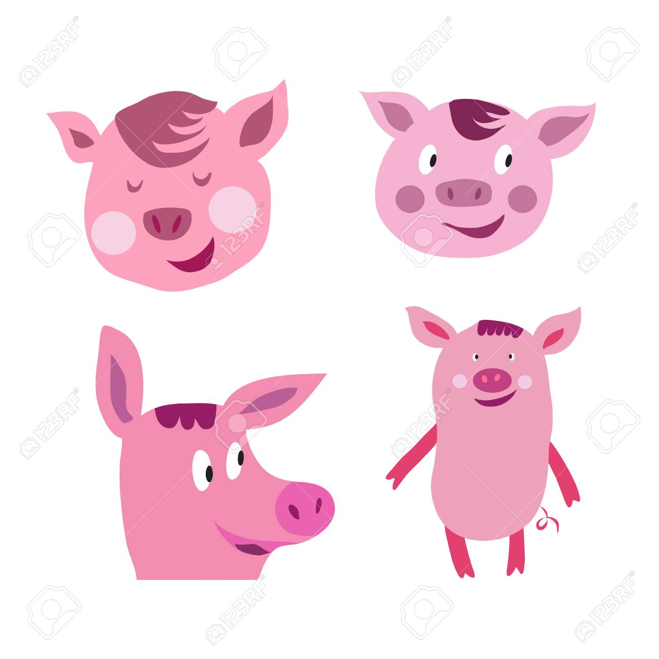 set of funny cute pink pigs in cartoon style pig symbol royalty