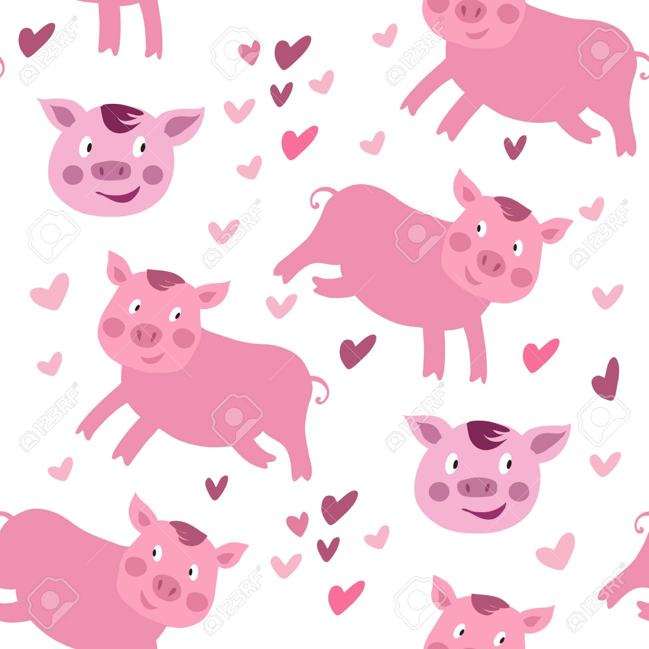 Beautiful seamless pattern with funny cute pink pigs in cartoon style. Pig - symbol 2019
