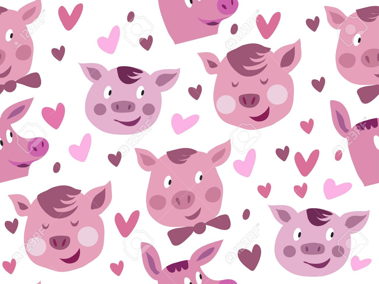 beautiful seamless pattern with funny cute pink pigs in cartoon style pig symbol 2019