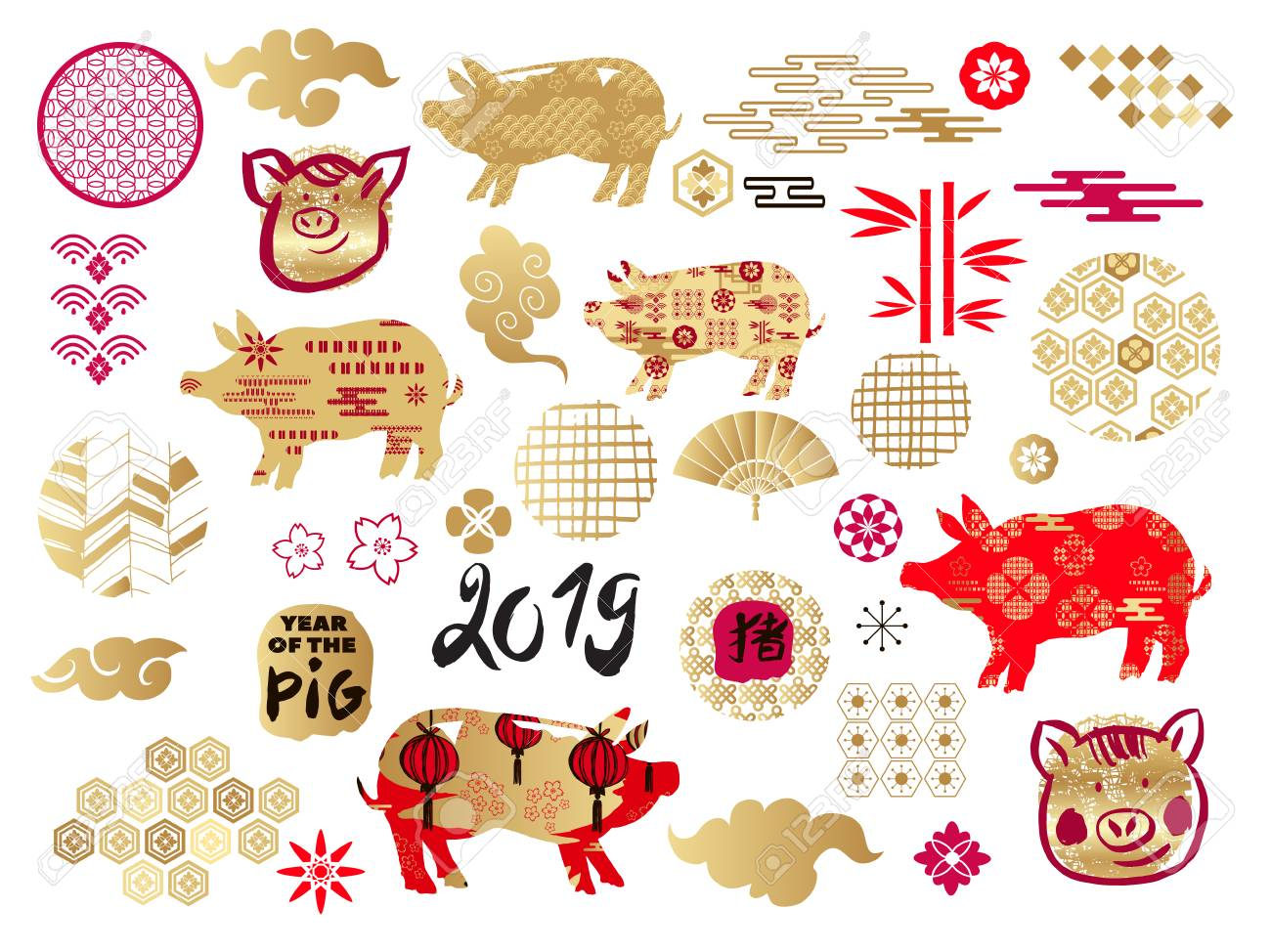 happy chinese new year year of the pigtemplate banner poster in oriental