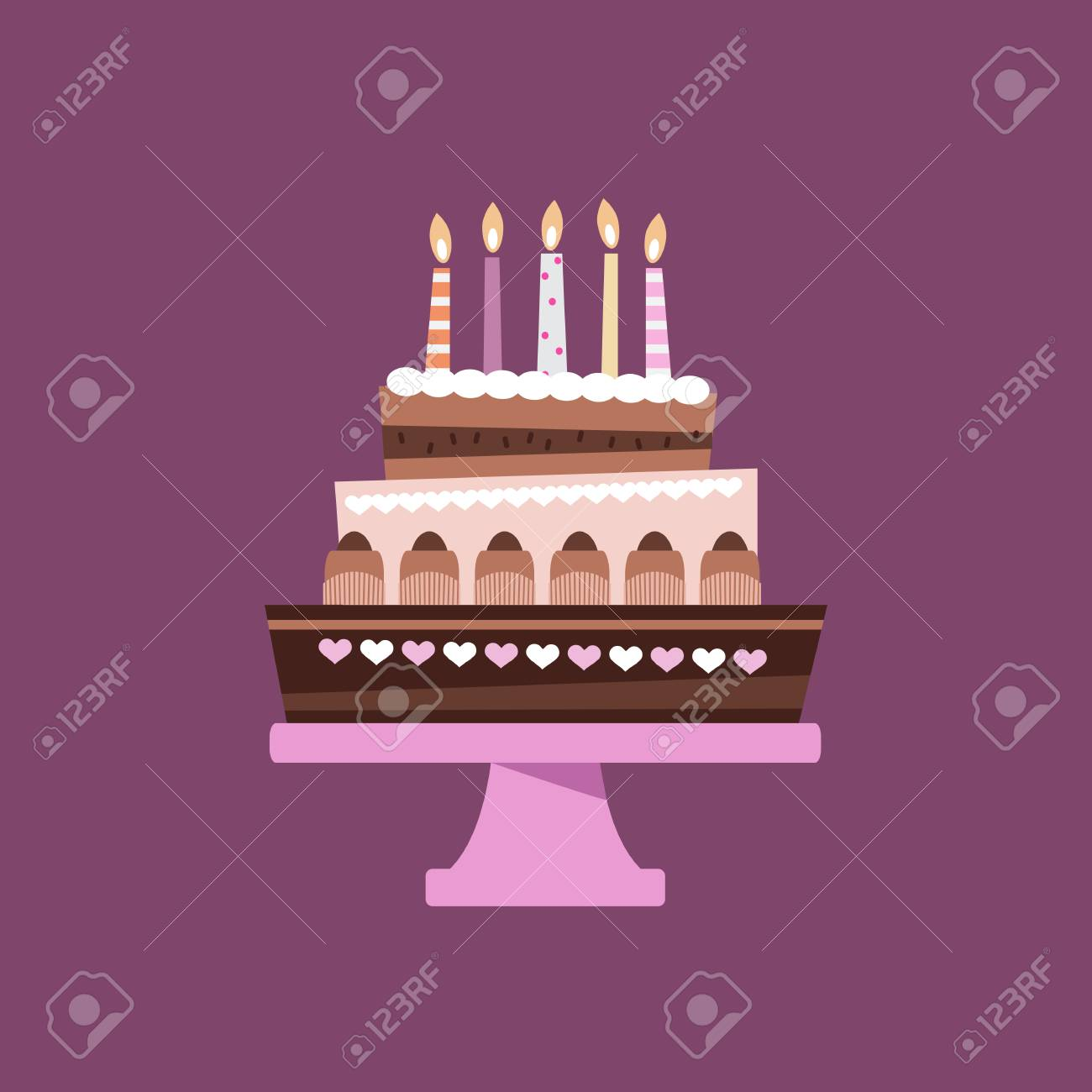 Beautiful Chocolate Birthday Cake In Cartoon Style Vector Royalty