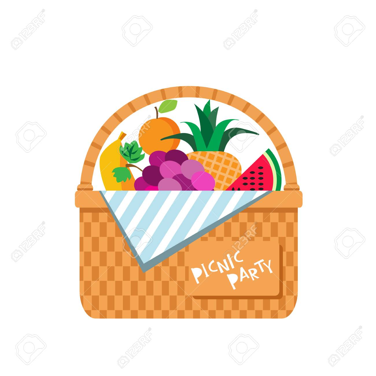 Wicker Picnic Basket With Fruits Watermelon Apple Banana Grapes Royalty Free Cliparts Vectors And Stock Illustration Image 104727269