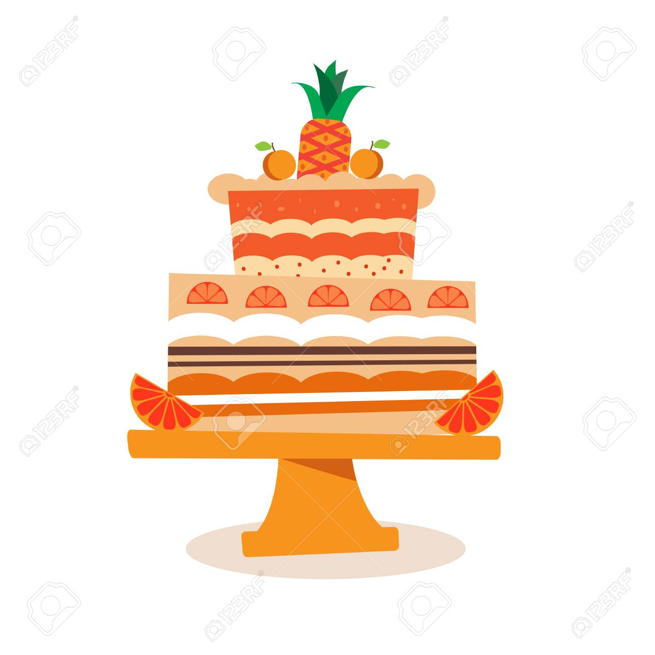 Beautiful Chocolate Birthday Cake In Cartoon Style Vector Royalty