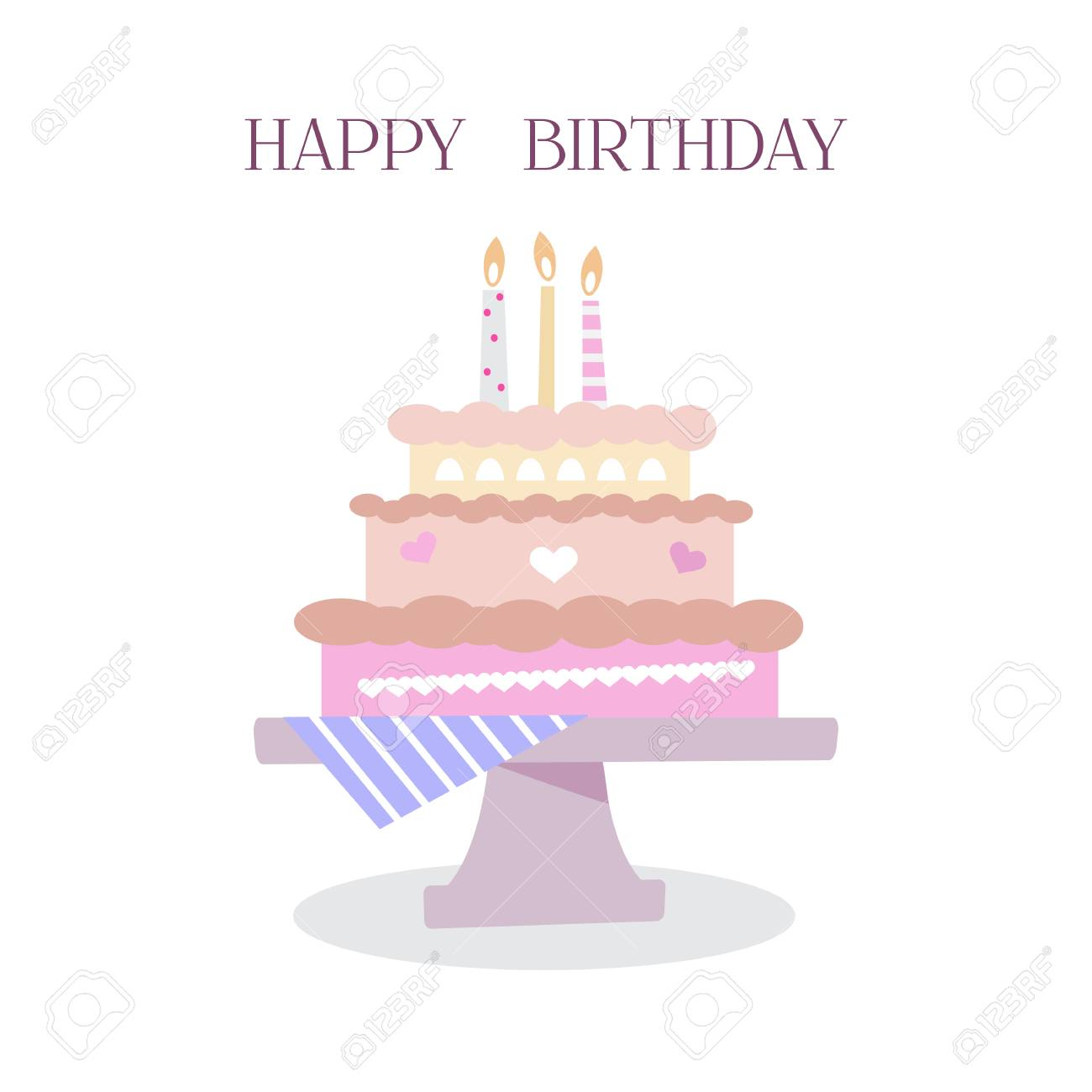Happy Birthday To You Typographic Design For Greeting Cards Chocolate Cake In Three Layers With