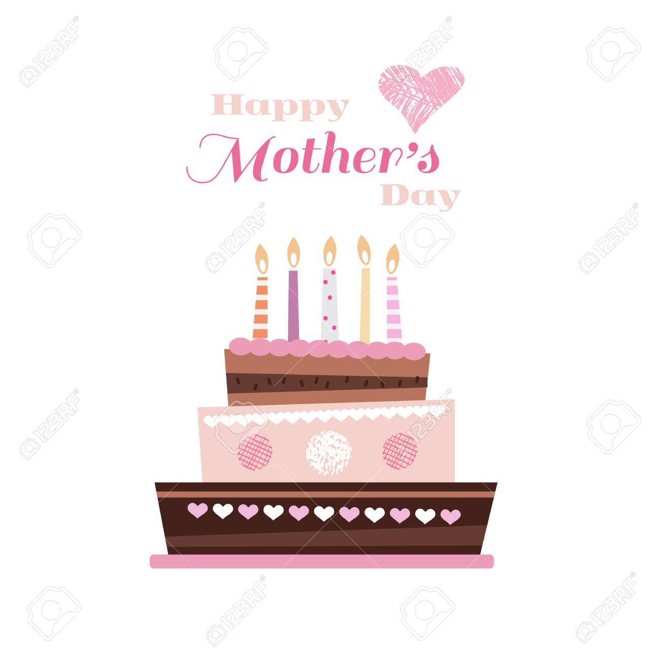 happy mother s day template poster greeting card with cake