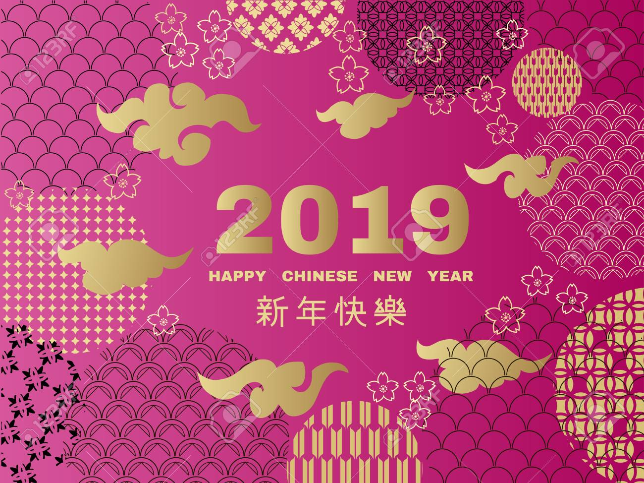 Happy chinese new year pig symbol 2019 new year template banner poster