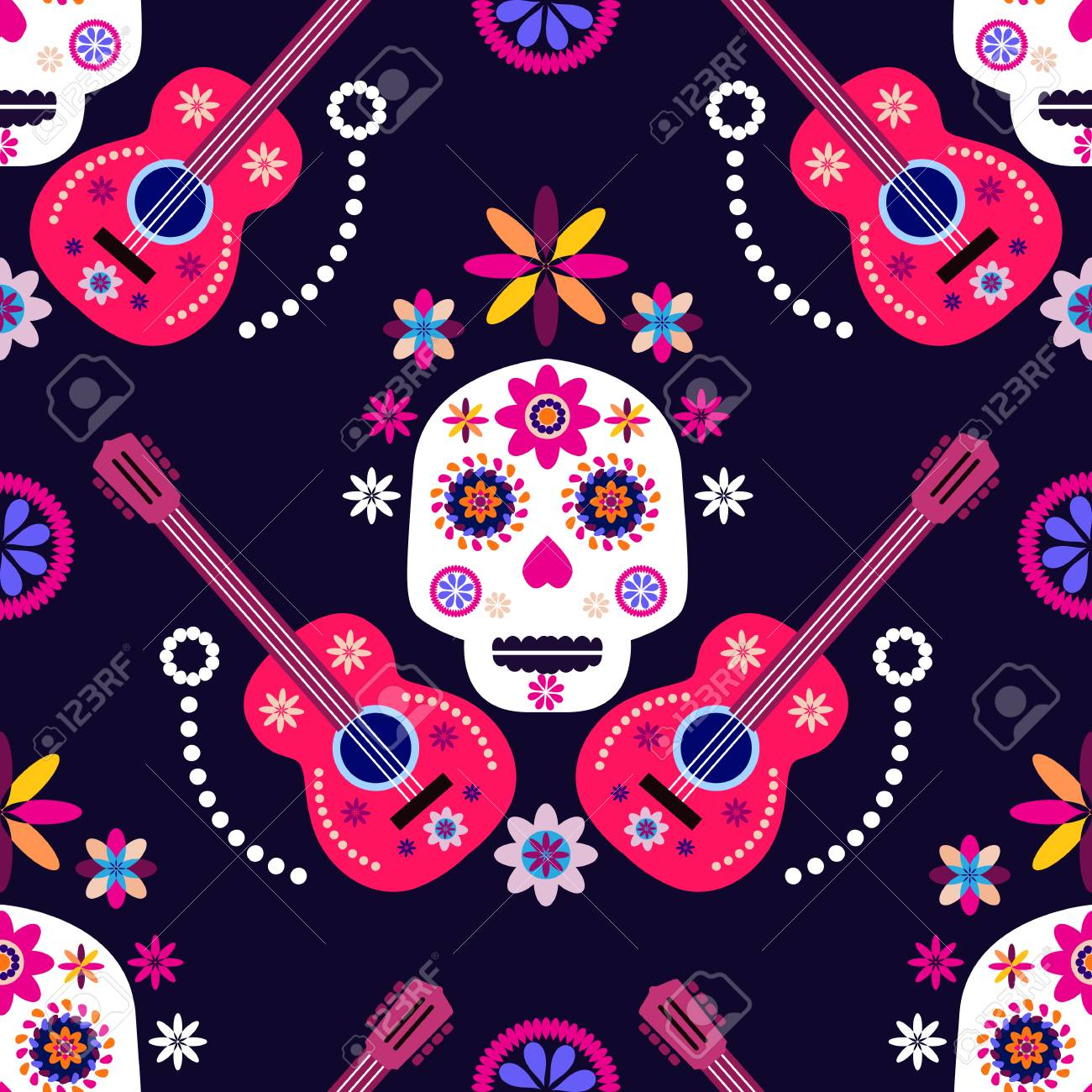 Mexican Seamless Pattern Sugar Skulls And Colorful Flowers Template
