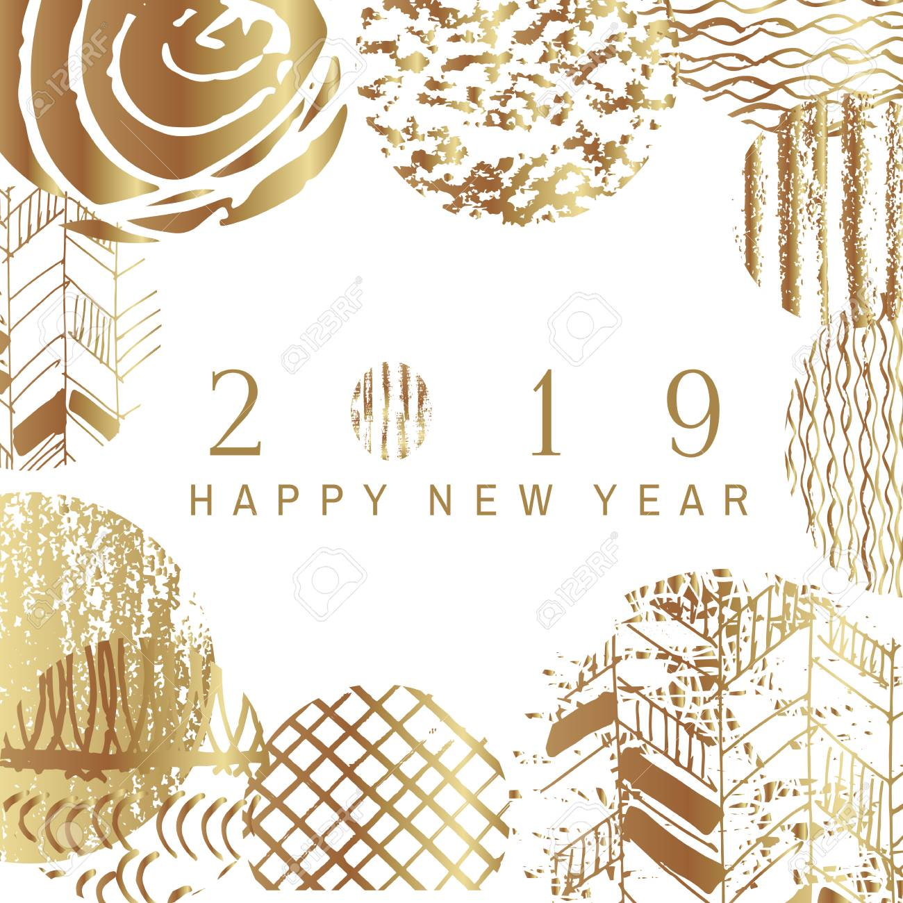 2019 happy new year golden art backgrounds for your template