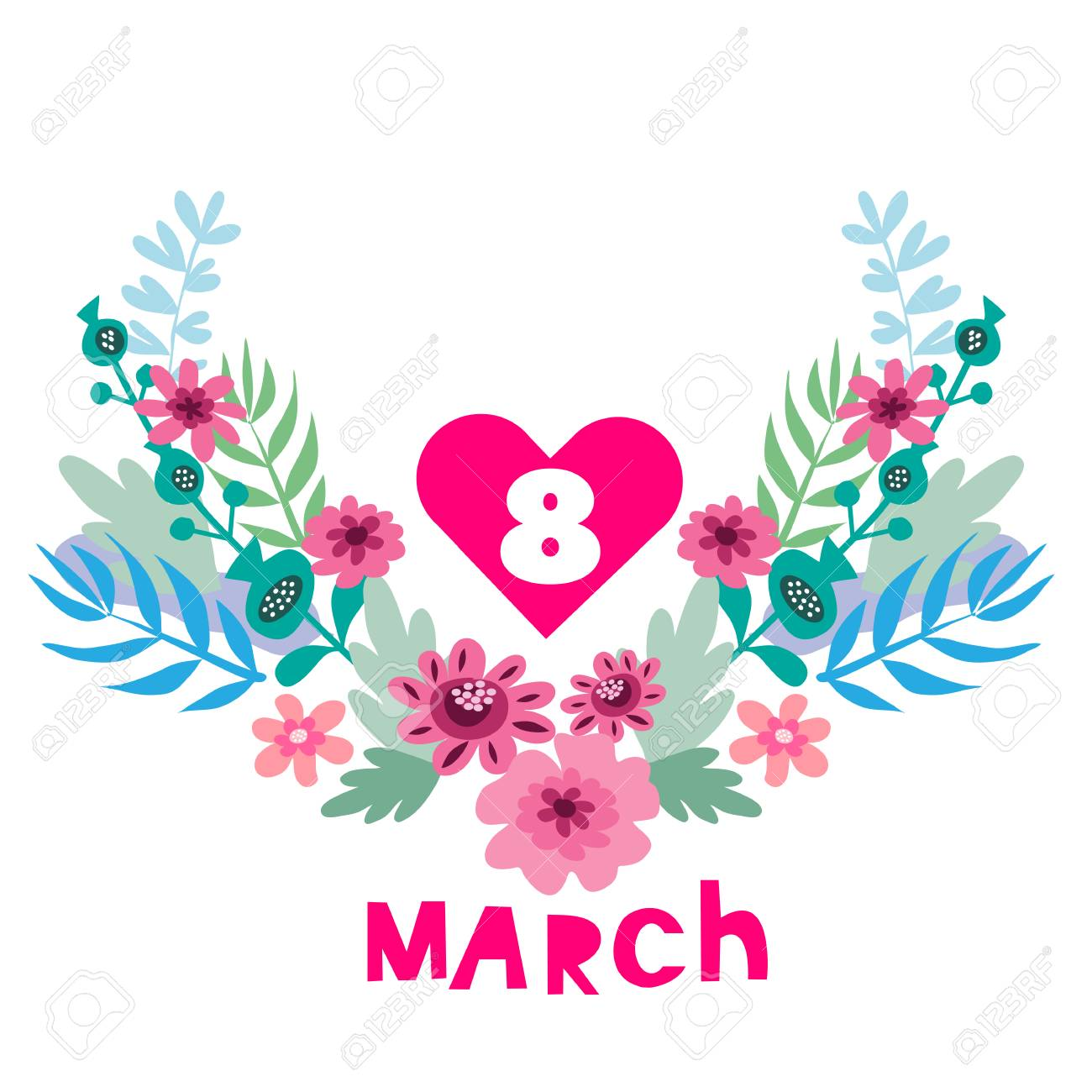 Happy 8 March Festive Art Background With Flowers Perfect
