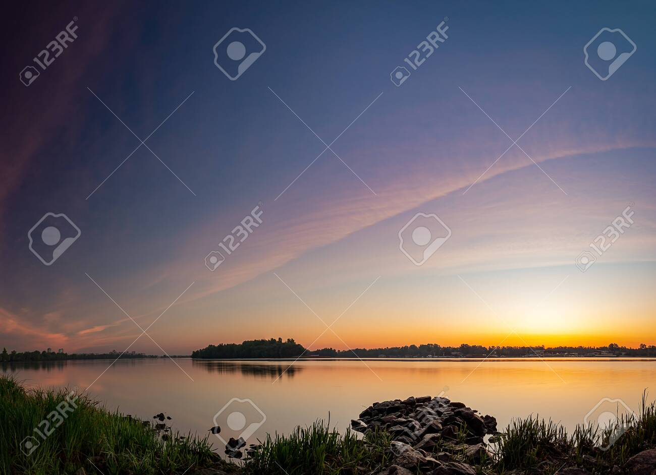 Beautiful summer sunset in the lake. HDR image - 148377794