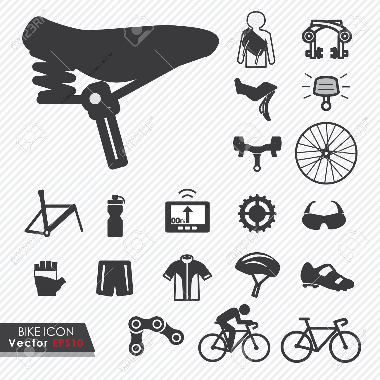 0bc68a9f833 Bike tools and equipment part and accessories set vector icon Stock Vector  - 27373197