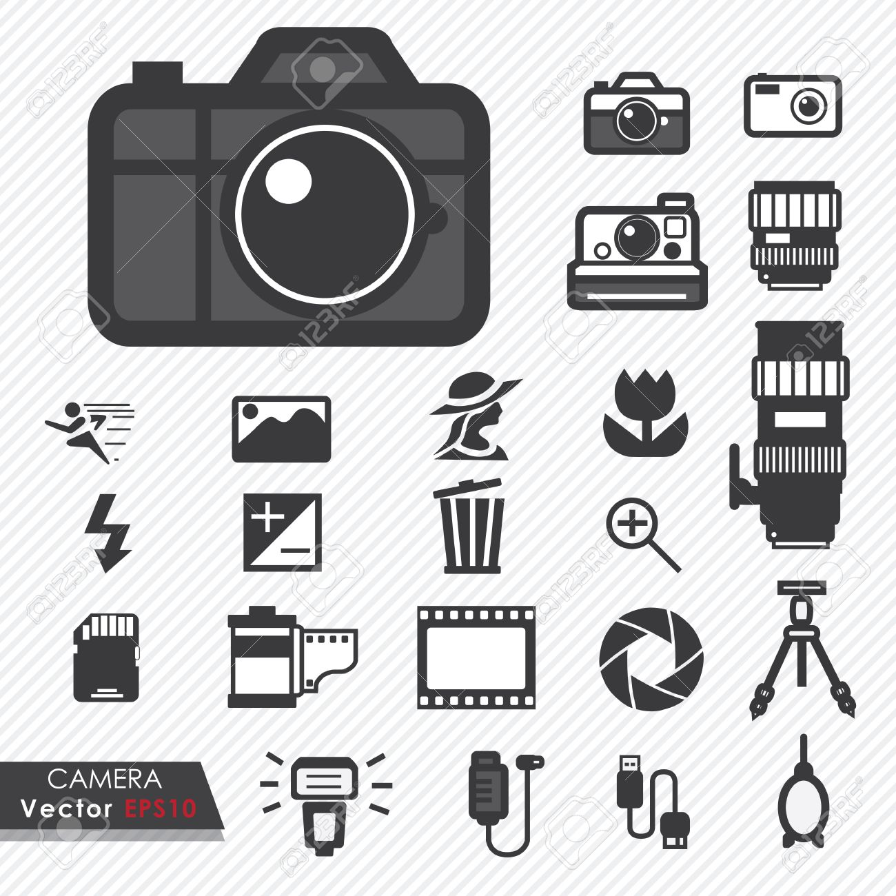Photography Camera Lens And Accessories Set Vector Icons Royalty ...