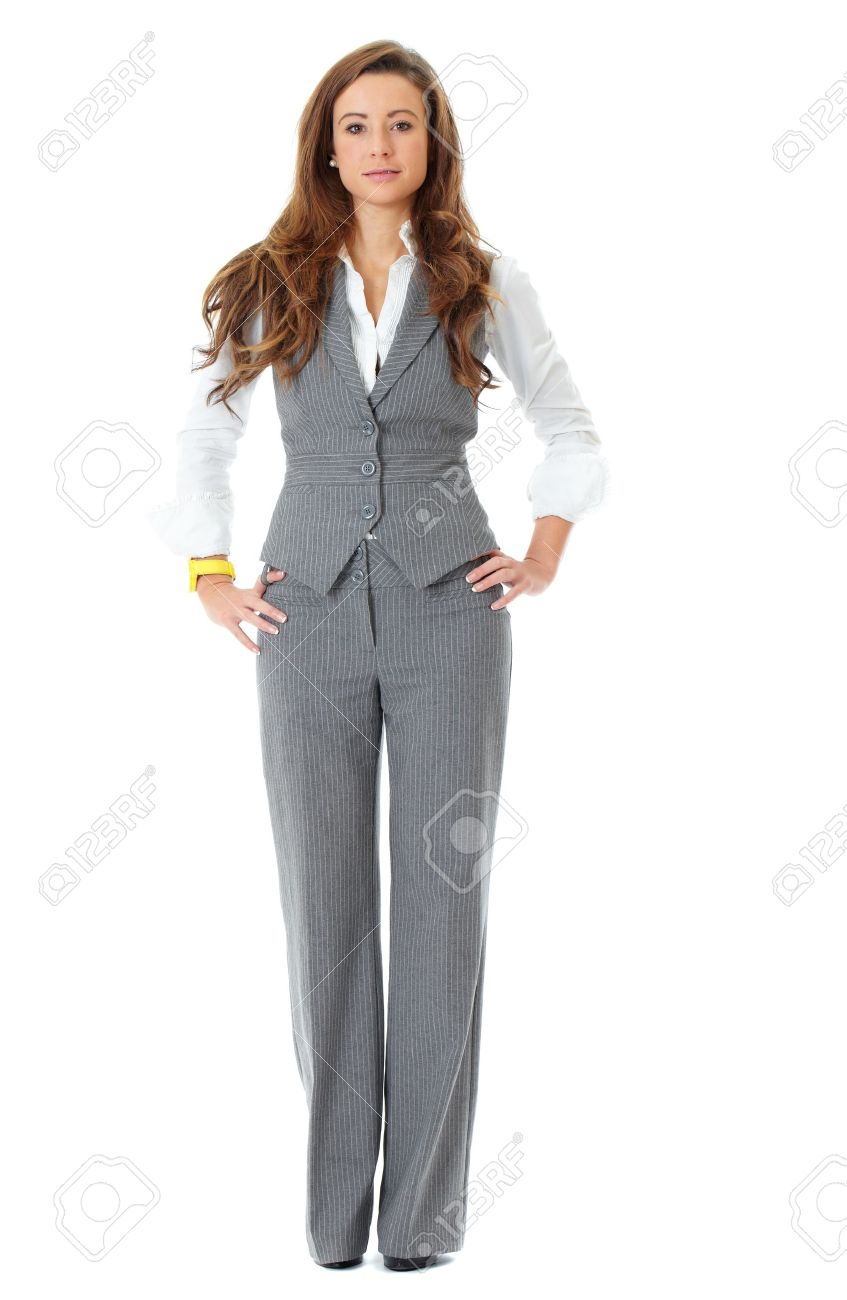 Young attractive and confident business woman, full pose shoot, isolated on white Stock Photo - 11477638