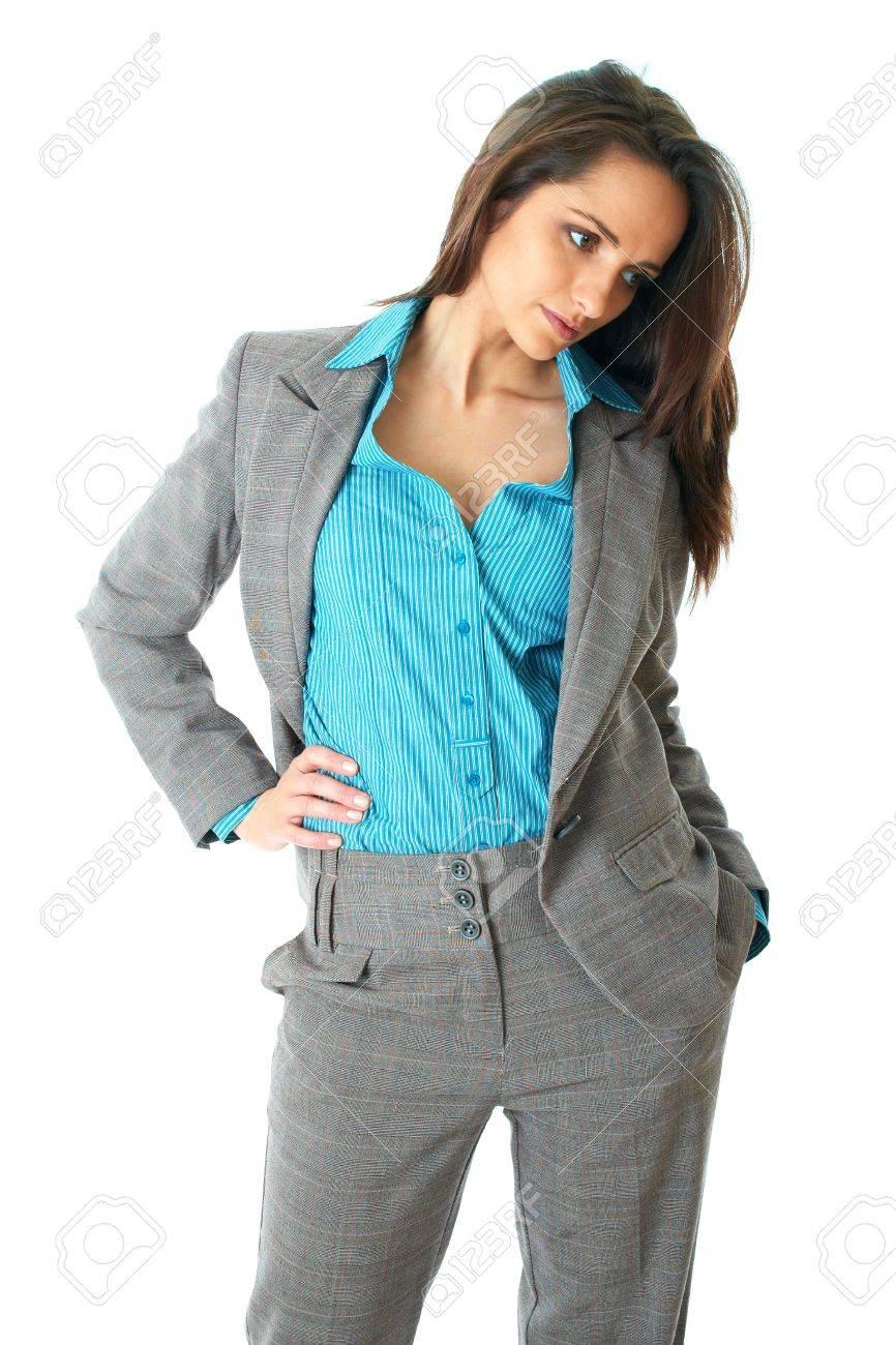Jeune Femme Look Attrayant Vers Le Bas Porte Elegante Chemise Bleue