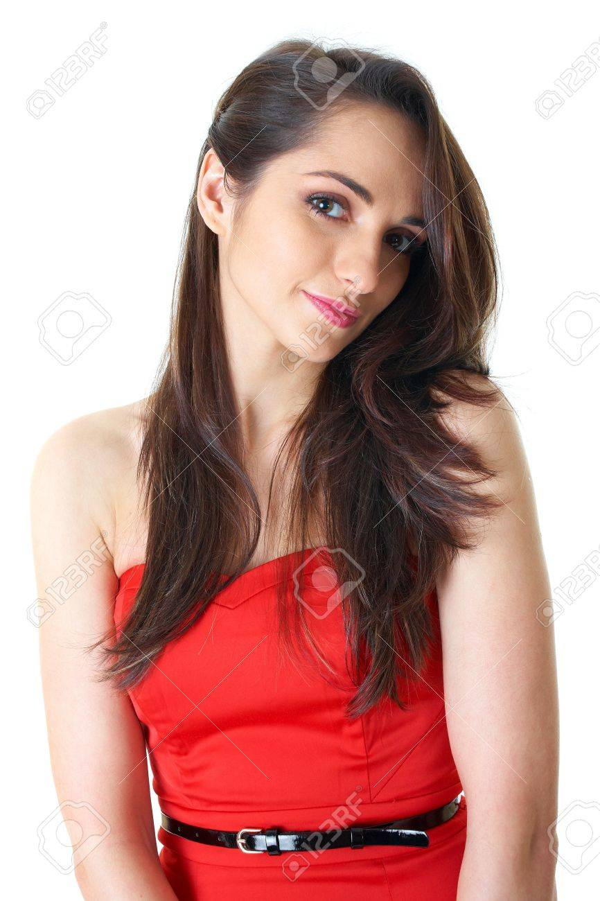 young attractive brunette woman in red strapless dress, studio shoot isolated on white Stock Photo - 11478069
