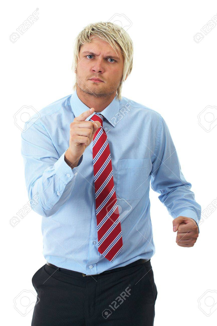 angry blonde businessman in blue shirt point to camera, isolated on white background Stock Photo - 11478003