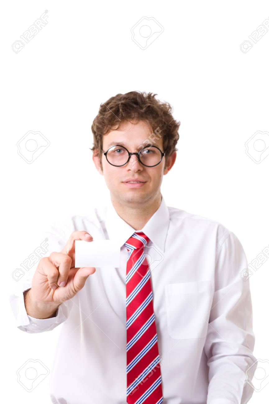 businessman shows his empty, blank businesscard, copy space, studio shoot isolated on white Stock Photo - 11617384