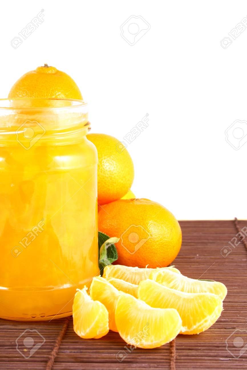 Orange Ripe tangerines on a white background with jam Stock Photo - 2362317