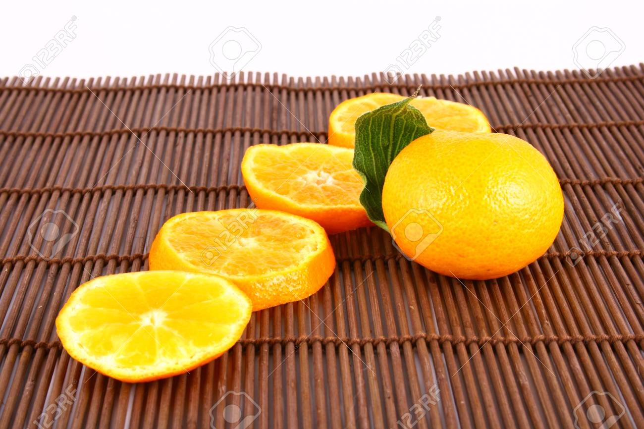 Orange Ripe tangerines on a white background Stock Photo - 2476113