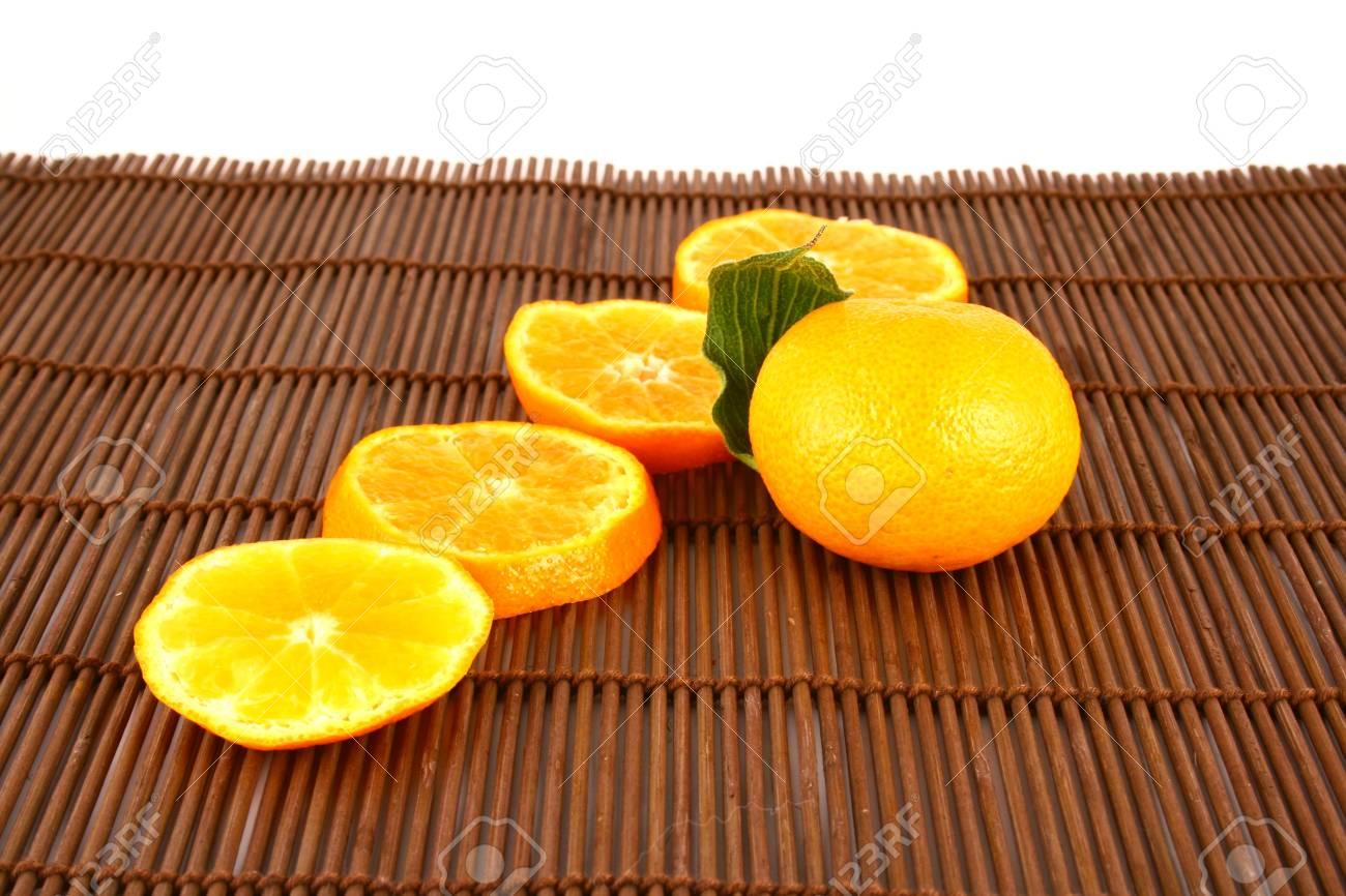 Orange Ripe tangerines on a white background Stock Photo - 2476130
