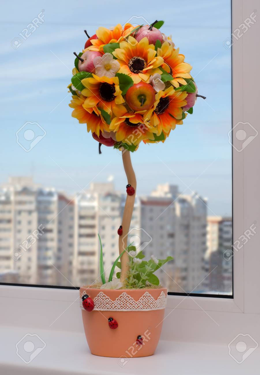 Artificial Topiary Handmade Flowers With Fruit On The Window Stock Photo Picture And Royalty Free Image Image 117465656