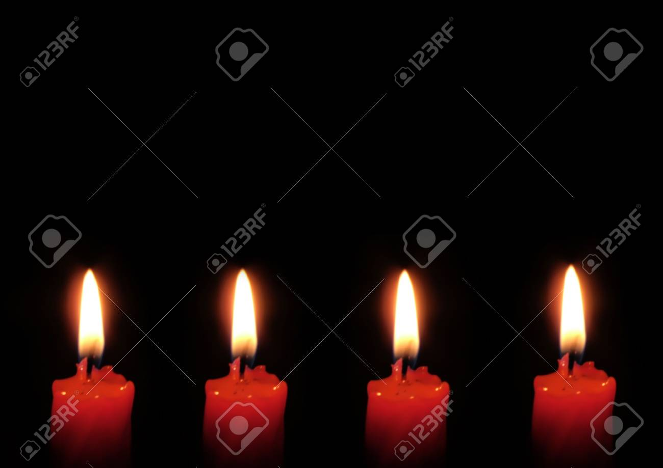 Red candle isolated on black background. Stock Photo - 742316
