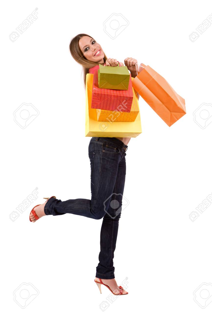 Shopping girl with colorful bag. Stock Photo - 3720665