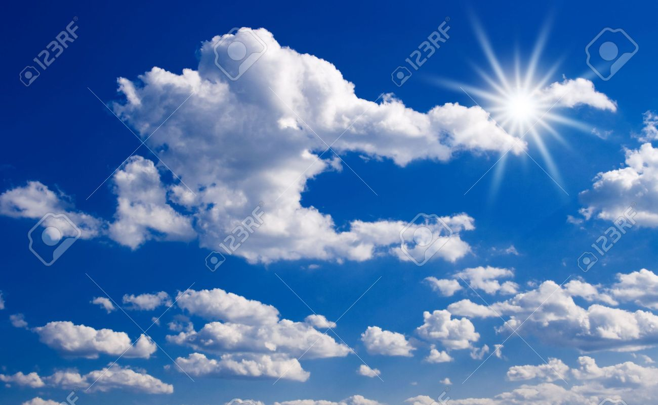 blue sky with clouds and sun rays stock photo picture and royalty