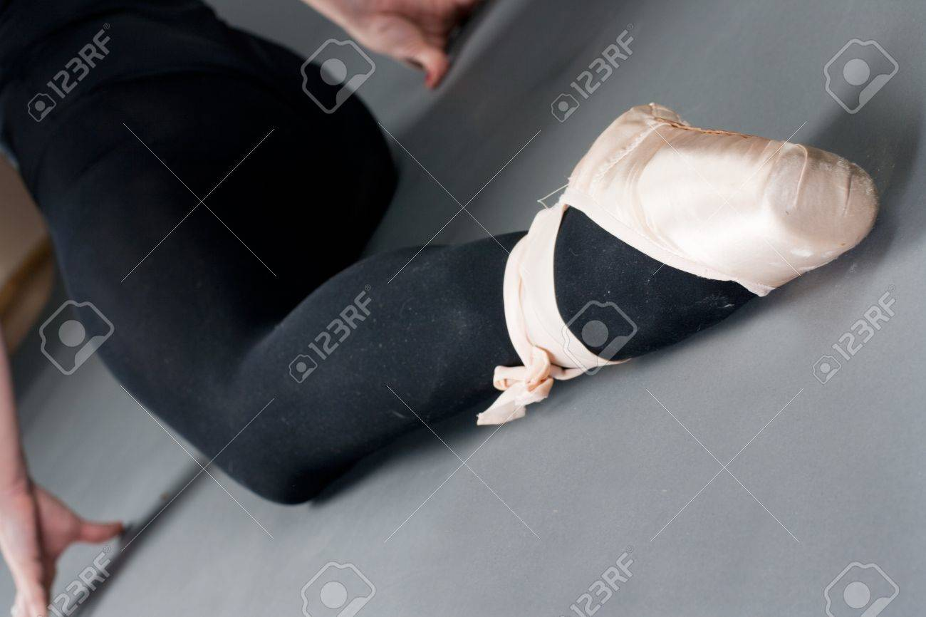 Closeup of woman legs with ballet slippers. Stock Photo - 9582451