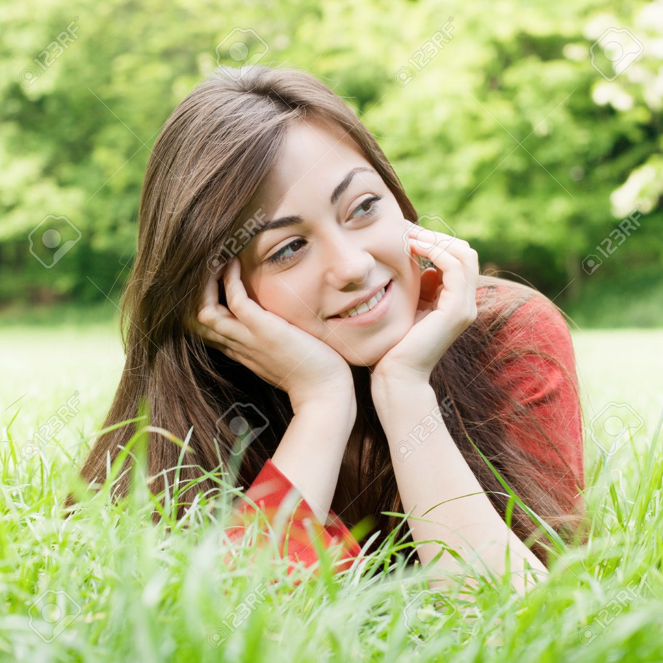Portrait of happy girl relaxed outdoors. Stock Photo - 10000226