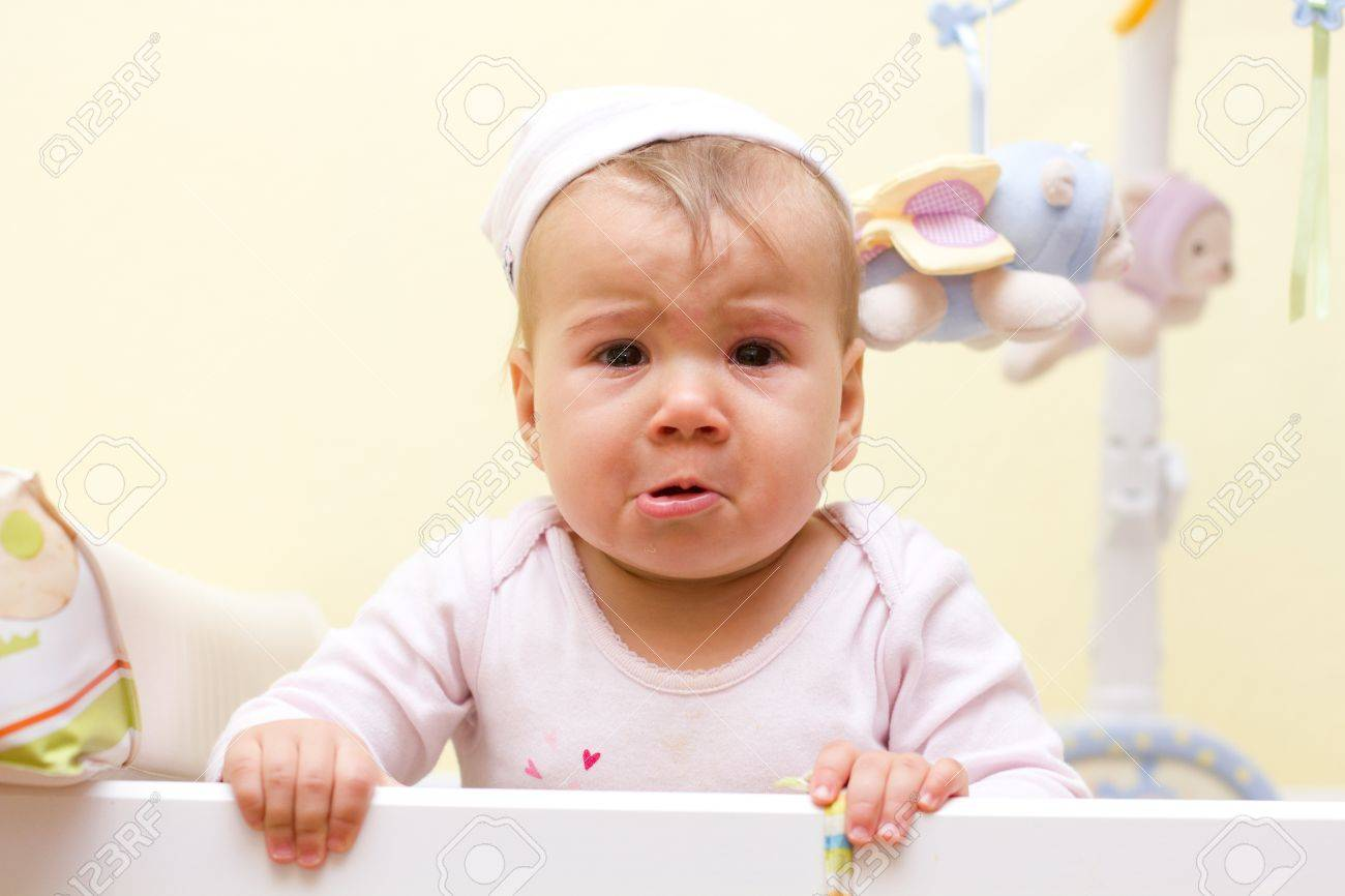 Portrait of crying baby girl. - 17159724